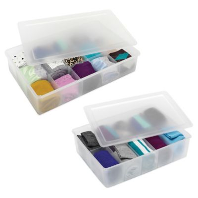 Whitmor Small 10-Section Stacking Drawer Organizer Box with Lid