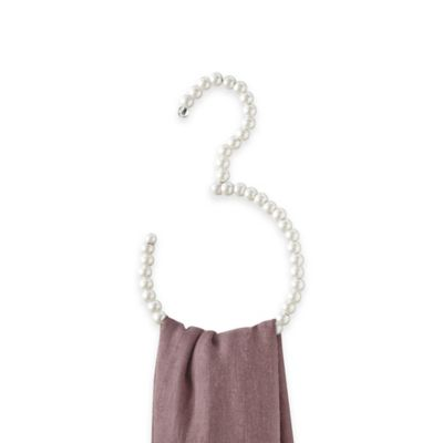 Pearl Beaded Scarf Hanger in White/Pink