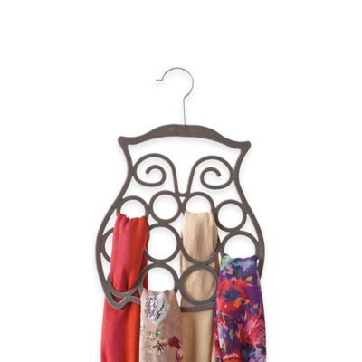 Owl Flocked Scarf Hanger in Charcoal Grey