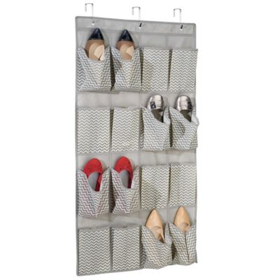 InterDesign® Axis Over-the-Door Shoe Organizer in Taupe Chevron Print