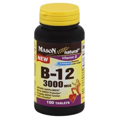 Mason Natural® 100-Count B-12 3000 MCG Sublingual Vitamin