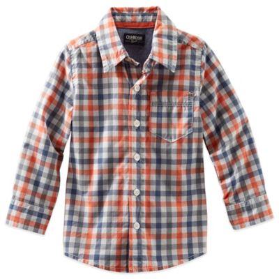 OshKosh B'gosh® Plaid Size 2T Long Sleeve Button Front Shirt in Orange/Grey