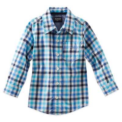 OshKosh B'gosh® Size 2T Plaid Long Sleeve Button Front Shirt in Blue/Charcoal