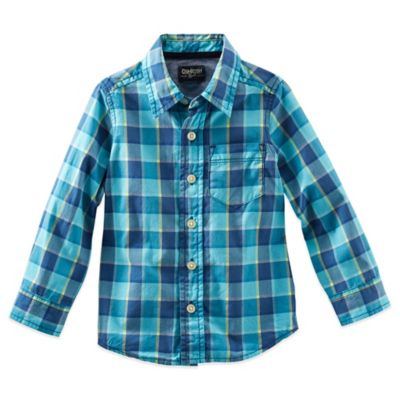 OshKosh B'Gosh Size 2T Plaid Long Sleeve Button Front Shirt in Blue
