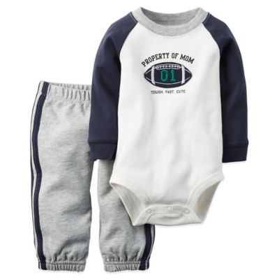 "Carter's® Size 6M 2-Piece ""Property of Mom"" Bodysuit and Pant Set in White/Navy"