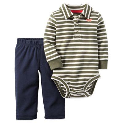 Carter's® Size 9M 2-Piece Stripe Polo Bodysuit and Pant Set in Olive
