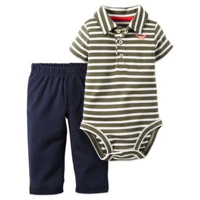 Carter's® Size 9M 2-Piece Striped Bodysuit and Pant Set in Olive/Navy