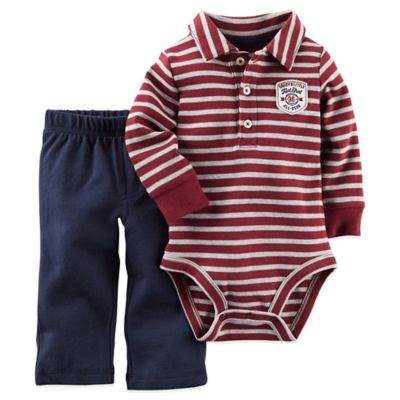 "Carter's® Size 3M 2-Piece ""Daddy's Little All-Star"" Bodysuit and Pant Set in Red/Navy"