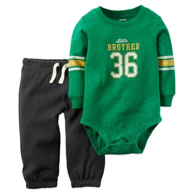 "Carter's® Size 3M 2-Piece ""Little Brother 36"" Long Sleeve Bodysuit and Pant Set in Green"