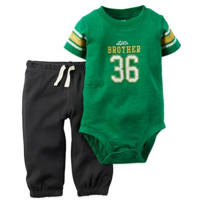 "Carter's® Newborn 2-Piece ""Little Brother 36"" Short Sleeve Bodysuit and Pant Set in Green"