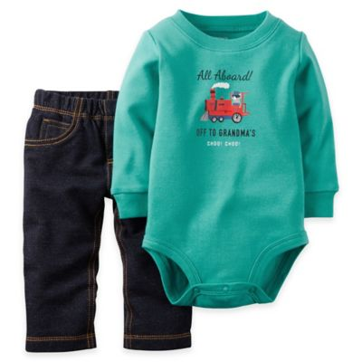 "Carter's® Newborn 2-Piece ""All Aboard! Off to Grandma's"" Bodysuit and Pant Set in Mint Blue"