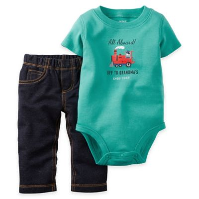 """carter's® Size 3M 2-Piece """"Off to Grandma's"""" Short-Sleeve Bodysuit and Pant Set in Mint Blue"""