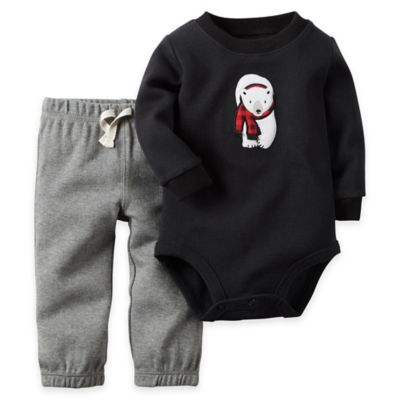 Carter's® Size 9M 2-Piece Polar Bear Bodysuit and Pant Set in Black/Grey