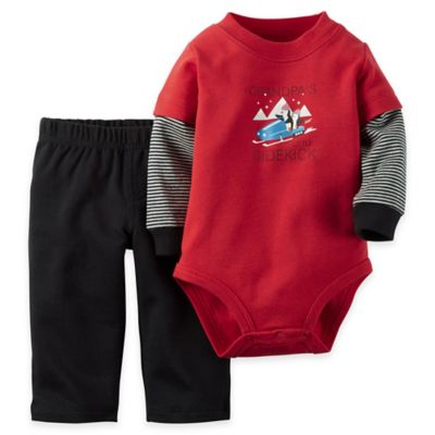 "Carter's® Size 3M 2-Piece ""Grandpa's Little Sidekick"" Bodysuit and Pant Set in Red/Black"