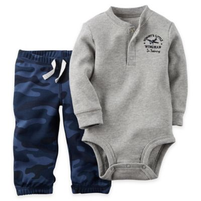 """Carter's® Size 3M 2-Piece """"Mommy's Little Wingman in Training"""" Bodysuit and Pant Set in Grey"""