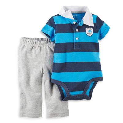 carter's® Size 6M 2-Piece Short-Sleeve Polo Bodysuit and Pant Set in Blue