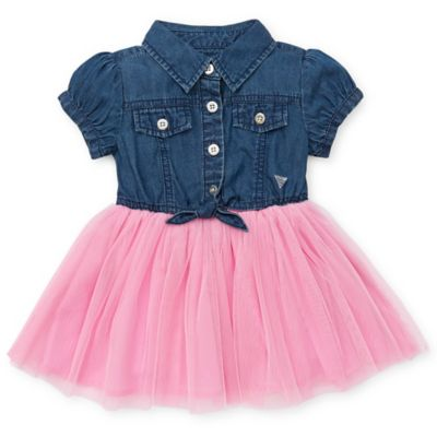 Guess® Size 12M Tulle Skirted Denim Dress in Blue/Pink