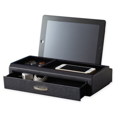 Saffiano Leather Charging Station in Black