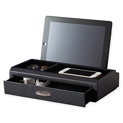 Deluxe Leather Charging Station In Black Bed Bath Amp Beyond