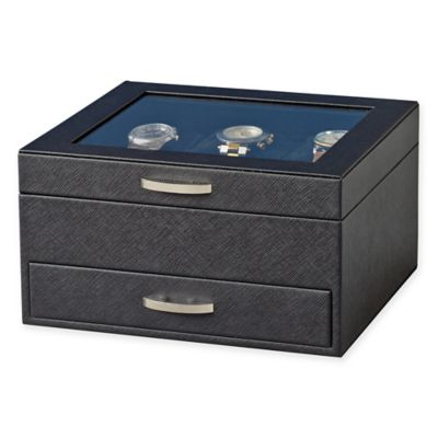 Saffiano 6-Slot Watch Case in Black