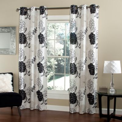 m.style Summer Garden 84-Inch Window Curtain Panel Pair in Black/White