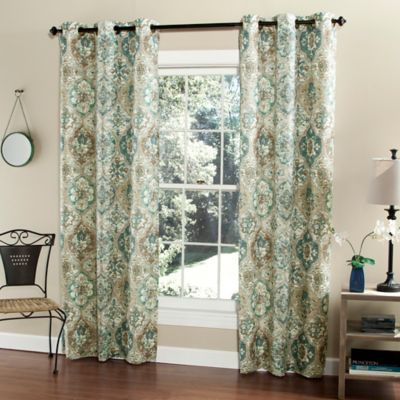 m.style Ali Baba 84-Inch Grommet Top Window Curtain Panel Pair in Teal