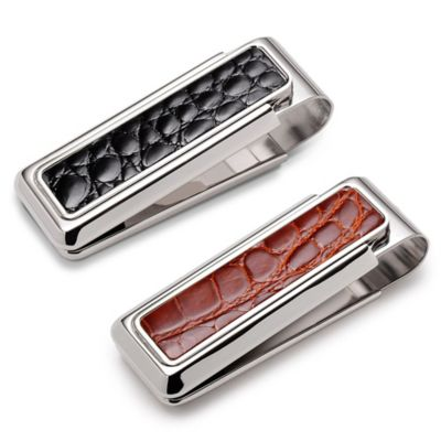 M-Clip Monterey Alligator Heat Tempered Spring Money Clip in Cognac