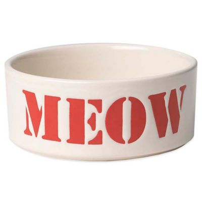 """Petrageous® 2-Cup Seaside Stencil """"Meow"""" Pet Bowl in Red"""