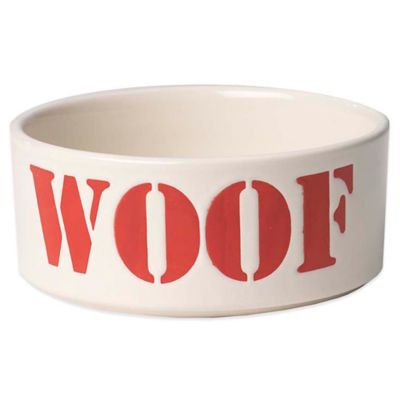 """Petrageous® 3-1/2 Cup Seaside Stencil """"Woof"""" Pet Bowl in Red"""
