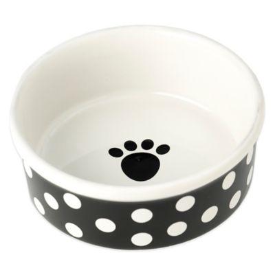 Petrageous® Poppy Dots Pet Bowl in Black
