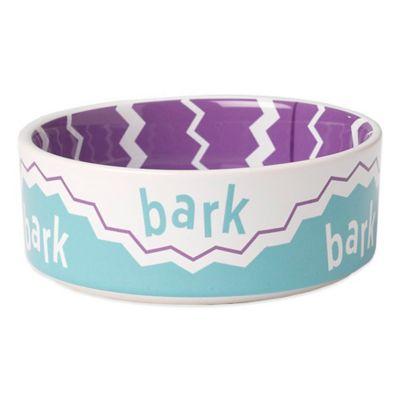"Petrageous® 2-Cup Play Pals ""Bark"" Pet Bowl in Purple Multi"
