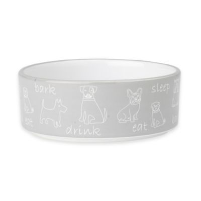 "Petrageous® 2-Cup Playful ""Eat, Drink, Bark, Sleep"" Pet Bowl in Grey/White"