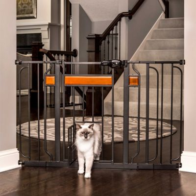 Design Paw Extra-Wide Pet-Door Pressure Mount Pet Gate in Black with Wood Trim