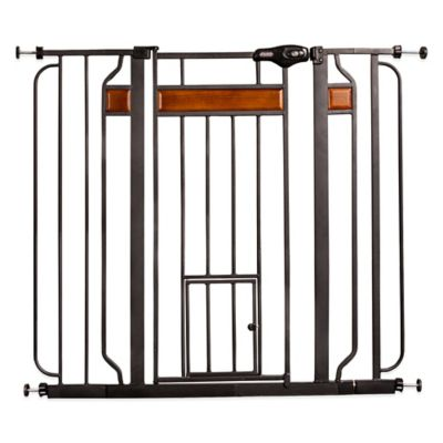 Design Paw Pressure-Mount Extra-Tall Pet-Door Pet Gate in Black with Wood Trim