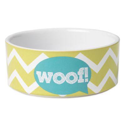 "Petrageous® 3.5 Cup Zigazaga ""Woof"" Pet Bowl in Lime Green"