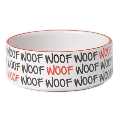 "Petrageous® 3-1/2 Cup Graffiti ""Woof"" Pet Bowl in White/Black"