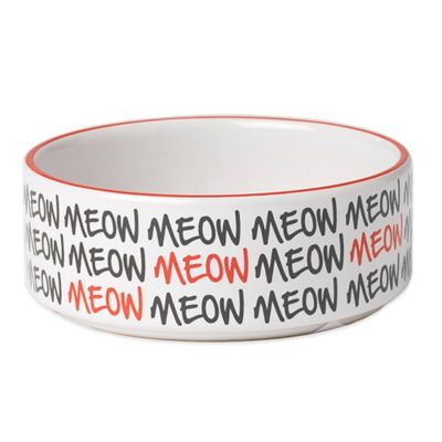 "Petrageous® 2-Cup Graffiti ""Meow"" Pet Bowl in White/Black"