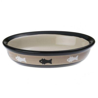 Petrageous® 1-Cup City Pets Fish Pet Bowl in Beige/Black