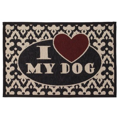 "Petrageous® Polycotton ""I Love My Dog"" Tapestry Placemat in Black/Red"