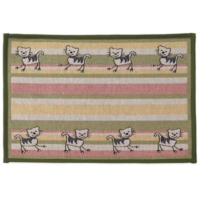 Petrageous® Silly Kitty Polycotton Tapestry Placemat in Multi Green