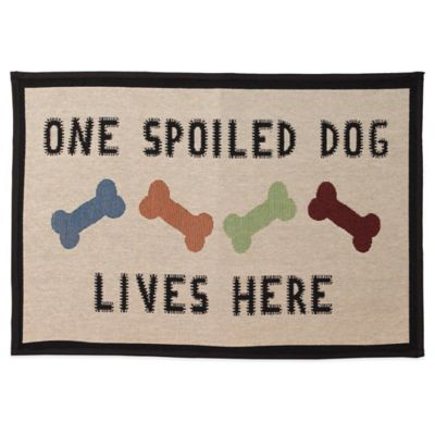 "Petrageous® Polycotton ""One Spoiled Dog"" Tapestry Placemat in Natural Multi"