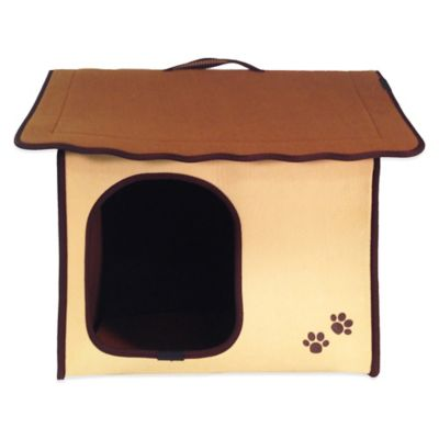 Penn-Plax® Dog's Life™ Home and Travel Pet House with Standard Roof in Khaki