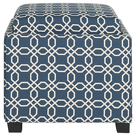 Buy Safavieh Harrison Single Tray Ottoman In Navy White