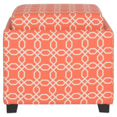 Safavieh Harrison Single Tray Ottoman in Navy/White