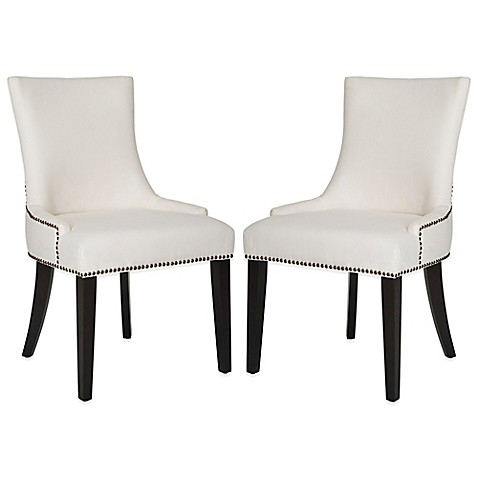 buy safavieh lester dining chairs in white fabric set of