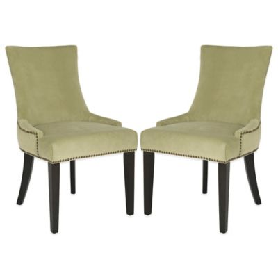 Safavieh Lester Dining Chairs in White Faux Leather (Set of 2)