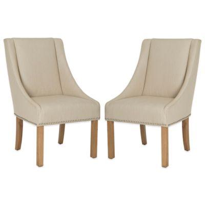 Safavieh Morris Sloping Arm Dining Chairs in Beige (Set of 2)