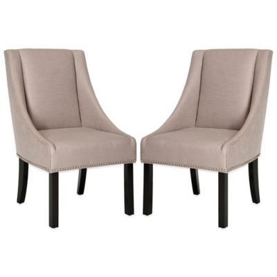 Safavieh Morris Sloping Arm Dining Chairs in Smoke (Set of 2)