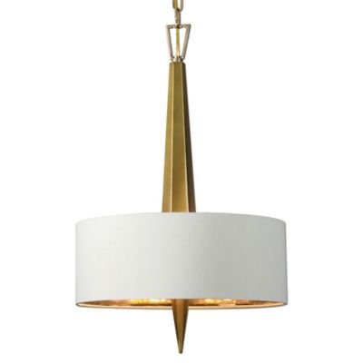 Uttermost Obeliska 3-Light Chandelier in Gold with Beige Linen Shade