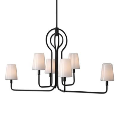 Uttermost Articulo 6-Light Chandelier in Soft Black with Milk Glass Shades